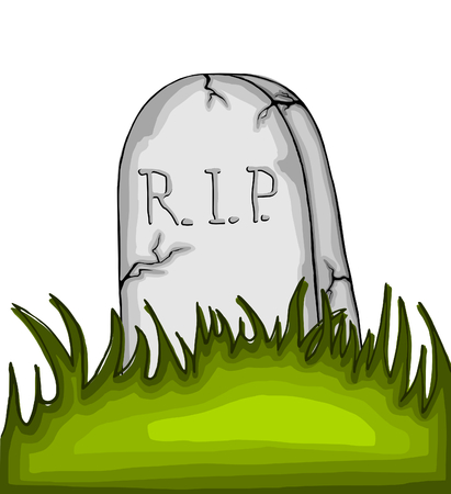 Cartoon tombstone on the grass - on white background photo