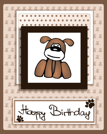 Happy Birthday card with cartoon dog character - scrapbook style photo