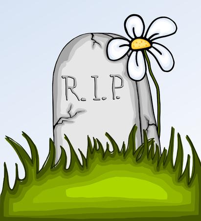 Happy Halloween card with tombstone and daisy - cartoon photo