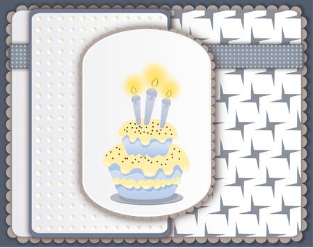boyish: Birthday card with cake and three candles - scrapbook style