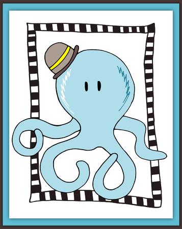 boyish: Cute octopus card in scrapbooking style - illustration Stock Photo