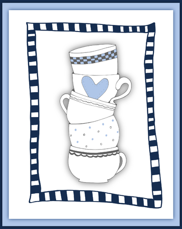 boyish: Stack of towering cups in blue - scrapbooking card
