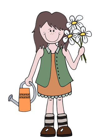 agronomist: Little cartoon girl gardener holding flowers and watering can Illustration