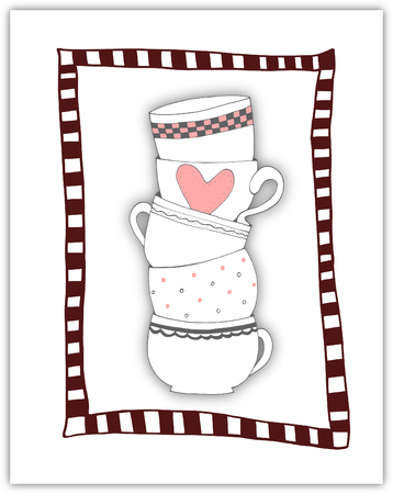 Stack of towering cups in red stripey frame - illustration illustration