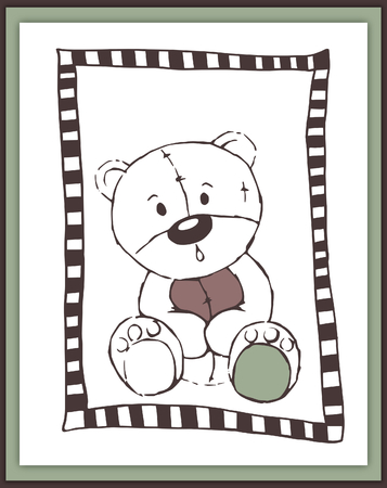 boyish: Scrapbook card with cute astonished teddy bear - illustration Stock Photo
