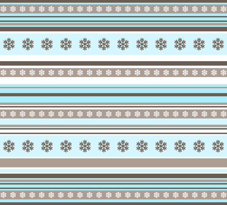 Winter seamless pattern - striped with snowflakes Vector