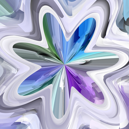 Blue, green and violet abstract bloom shape - illustration illustration