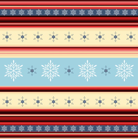 Christmas stripy background with snowflakes - illustration illustration