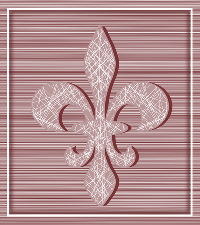 horozontal: Fleur de lis on stripey background with minimalistic frame - illustration