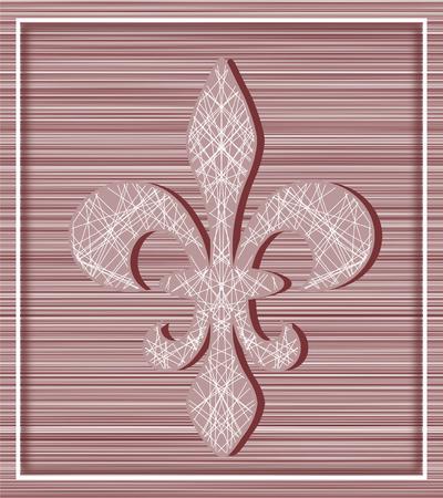 horozontal: Fleur de lis on stripey background with minimalistic frame - illustration