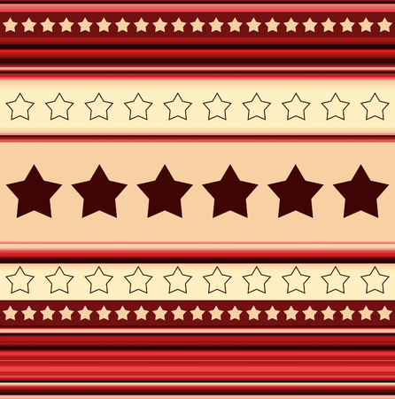 Stripy background with stars - in red - illustration illustration
