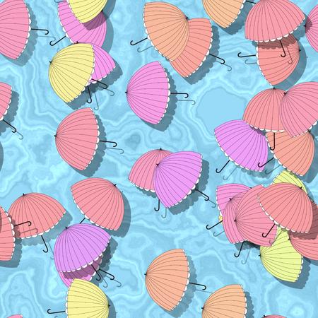 Summer seamless pattern with parasol - illustration illustration