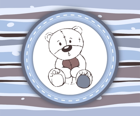 Cute teddy bear label card in blue and brown - illustration illustration