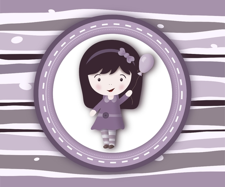 Little girl label card on stripey violet background - illustration illustration