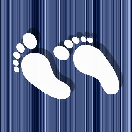 conspicuous: White feet on stripey background - illustration