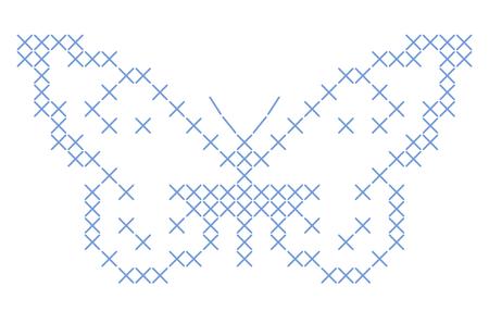crisscross: Butterfly criss-cross stitch embroidery - background Stock Photo
