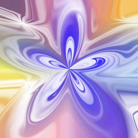tonality: Abstract pastel colored bloom shape in violet, blue, orange and yellow