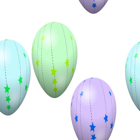 Seamless pattern with easter eggs on white background photo