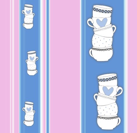 Vertical stripey pattern with stack of towering cups  - illustration illustration