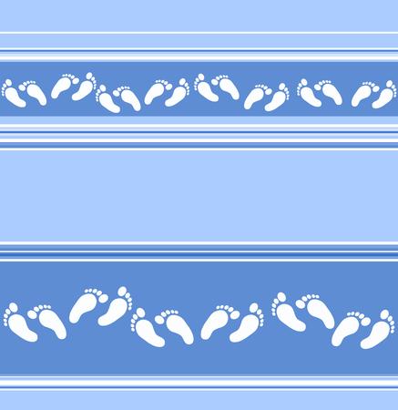 boyish: Seamless blue stripy background with scattered feet decor - vector EPS Illustration