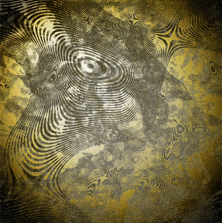 Abstract relief texture on golden background - illustration