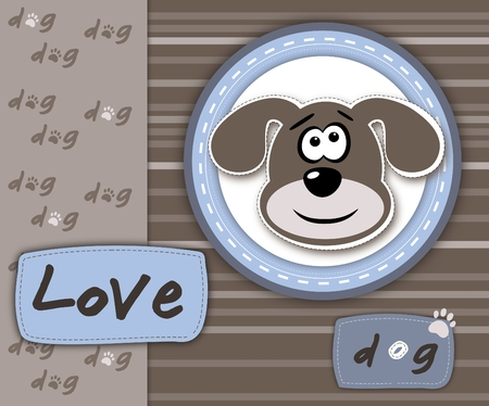Love dog card in blue and brown - scrapbook style photo