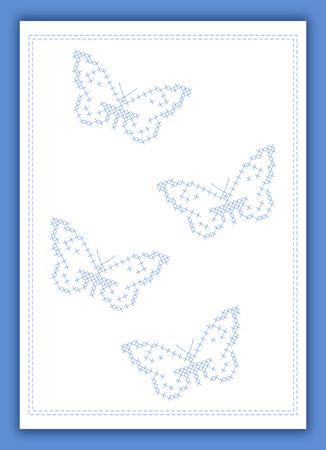crisscross: Butterflies criss-cross embroidery card in blue - scrapbook style