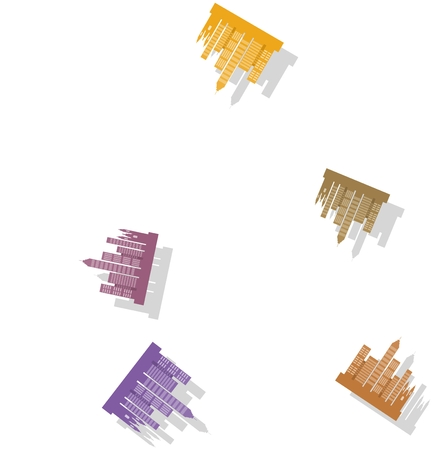 diffused: Seamless city skyline pattern on white background with drop shadow Stock Photo