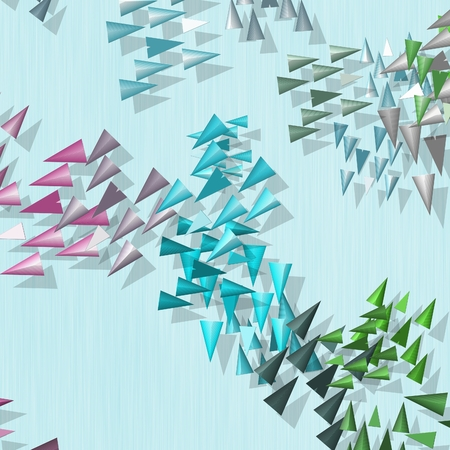 greenish blue: Abstract rainbow colored spikes with drop shadow texture Stock Photo