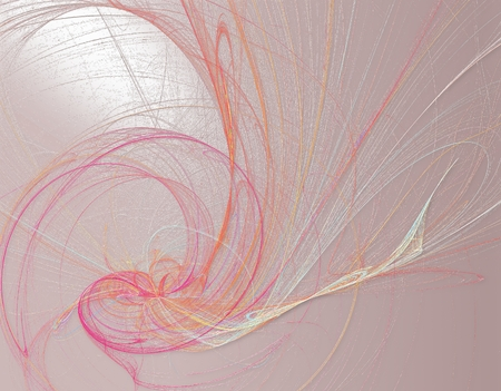 snarl: Romantic line art painting in pink, orange and blue spectrum Stock Photo