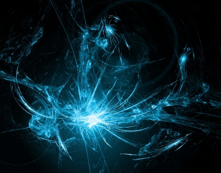 detonation: Abstract glowing background with lens flare effect on black Stock Photo