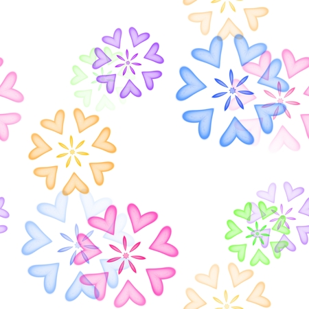 diffused: Seamless colored heart ornaments on white background