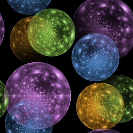 Seamless colored ball pattern on black background photo