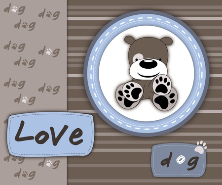 Love dog card in scrapbook style, blue and brown spectrum photo