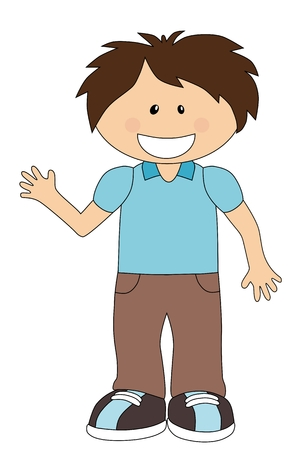 boyish: Smiling cartoon boy isolated on white background
