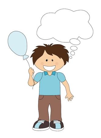 boyish: Cartoon boy with balloon and speech bubble isolated on white Illustration