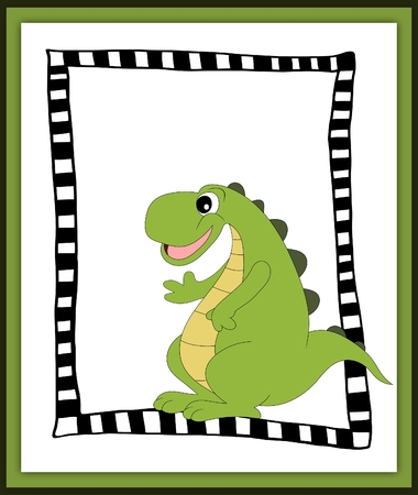 Cartoon dinosaur waving hand in scrapbook style photo
