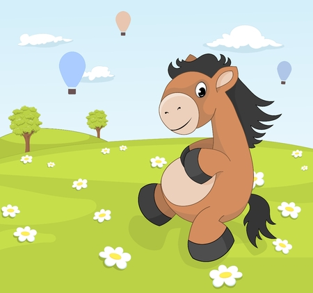 Spring landscape with cartoon pony on blooming meadow photo