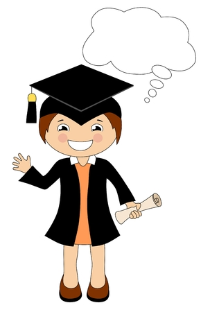 collegiate: Cartoon girl in cap and gown graduate with speech bubble isolated on white