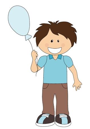 boyish: Smiling cartoon boy with balloon isolated on white background
