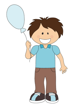 Smiling cartoon boy with balloon isolated on white background