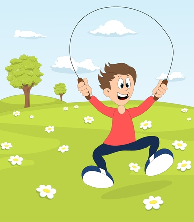 A boy playing with the skipping rope on blooming meadow Stock Photo