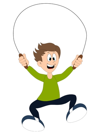 A boy playing with the skipping rope isolated on white background