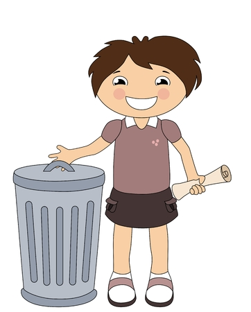 Smiling cartoon girl throwing out the trash isoalted on white Vector