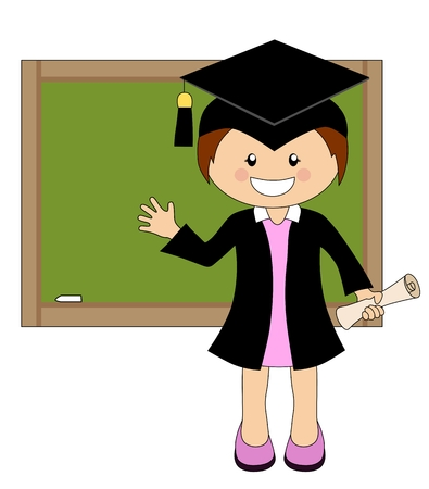 cap and gown: Cartoon girl in cap and gown graduate in front of school board - isolated on white Illustration