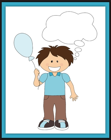 smile happy: Cartoon boy with balloon and speech bubble scrapbook card Stock Photo