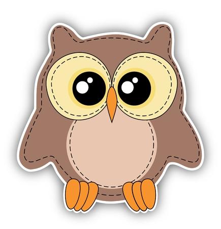 kiddish: Cute owl label on white background - stitching style Stock Photo