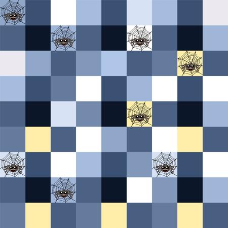 boyish: Seamless blue mosaic with spider motif and cobweb