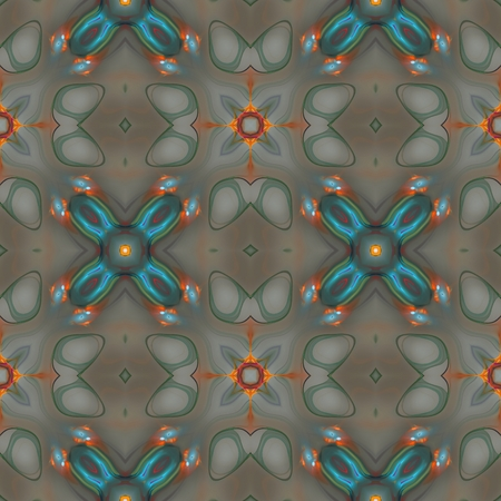 brown wallpaper: Seamless kaleidoscope texture or pattern in blue, orange and brown - wallpaper pattern Stock Photo