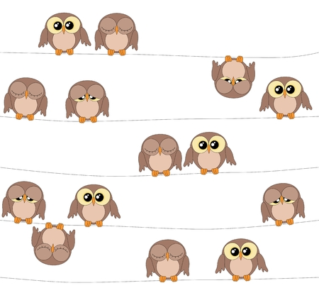 boyish: Illustration of cute owls on white background, owls pattern